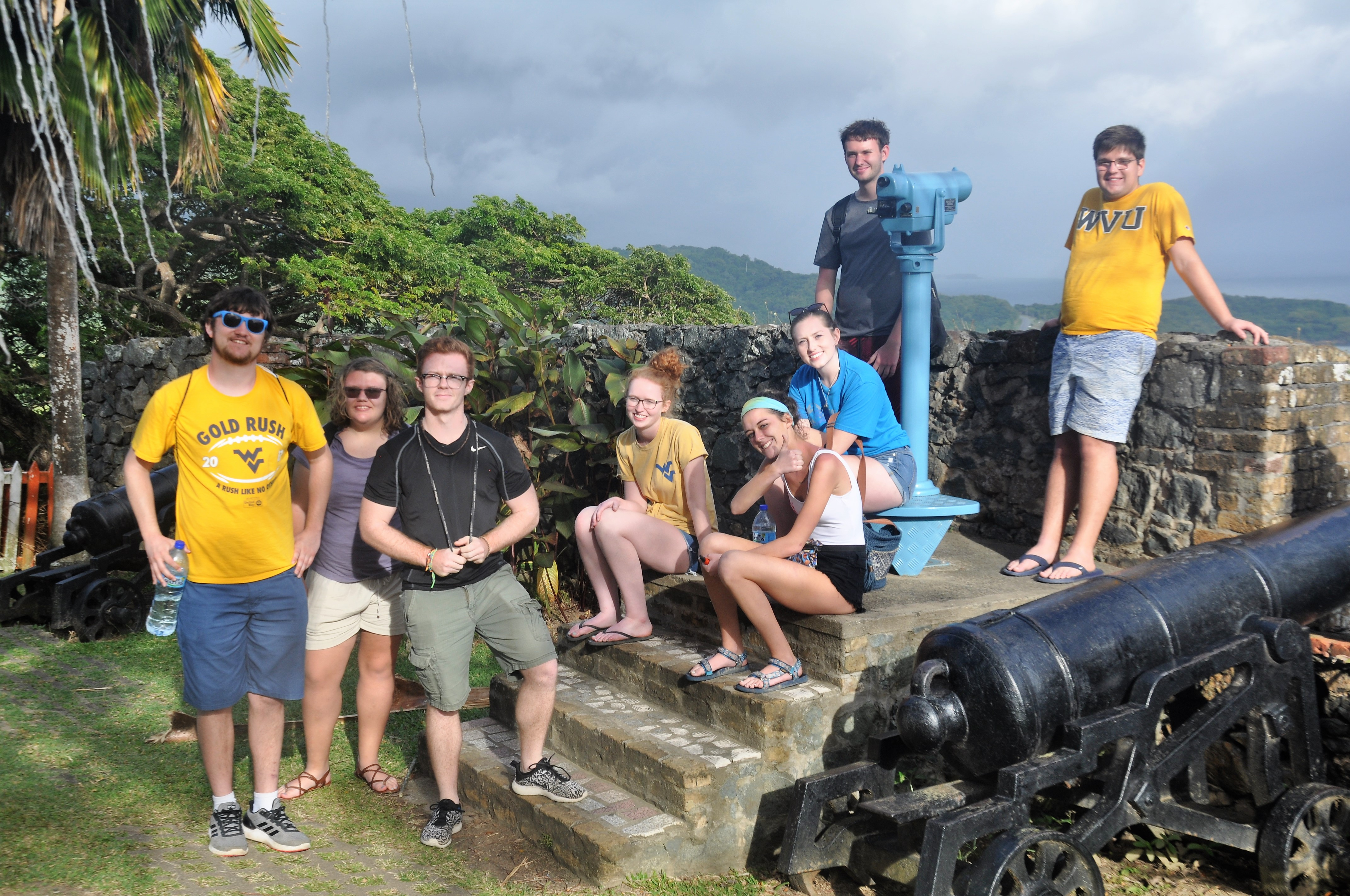 Students exploring a historical site of Trinidad